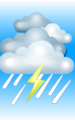 Погода в Йошкар-Ола на 1 июля, суббота. Утро: пасмурно, дождь, возможна гроза