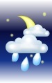 Погода в Юрбаркасе на 27  апреля, суббота. Ночь: облачно, дождь