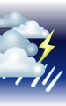Погода в Красноярске на 23 июня, пятница. Ночь: облачно, дождь, возможна гроза, сильный туман