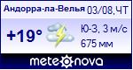 Погода в Андорра-ла-Велье - установите себе на сайт информер с прогнозом погоды